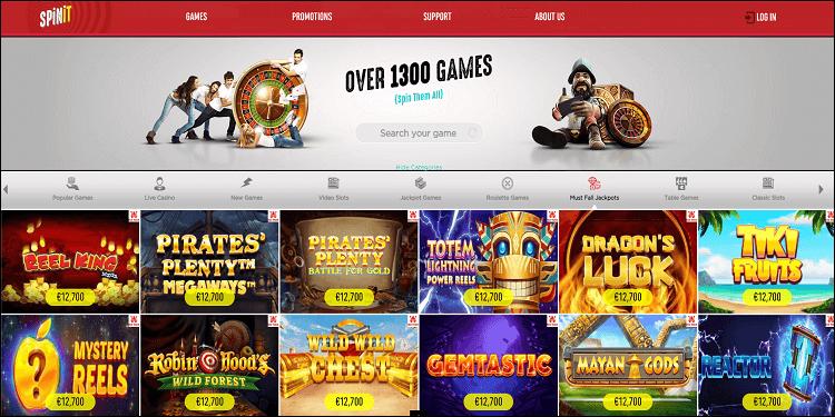 Spinit Casino UK Must Fall Jackpots